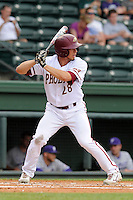 Right fielder Quinn Bower (28) of the Elon Phoenix bats in a game against the Furman Paladins in a first-round Southern Conference playoffs game on Wednesday, May 22, 2013, at Fluor Field at the West End in Greenville, South Carolina. Furman won, 10-1. (Tom Priddy/Four Seam Images)