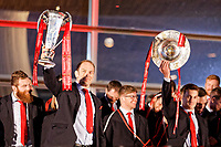 (L-R) Team captain Alun Wyn Jones and Jonathan Davies lift the Six Nations trophies during the Celebration for Wales Six Nations Win at the National Assembly for Wales, Cardiff Bay, Wales, UK. Monday 18 March 2019