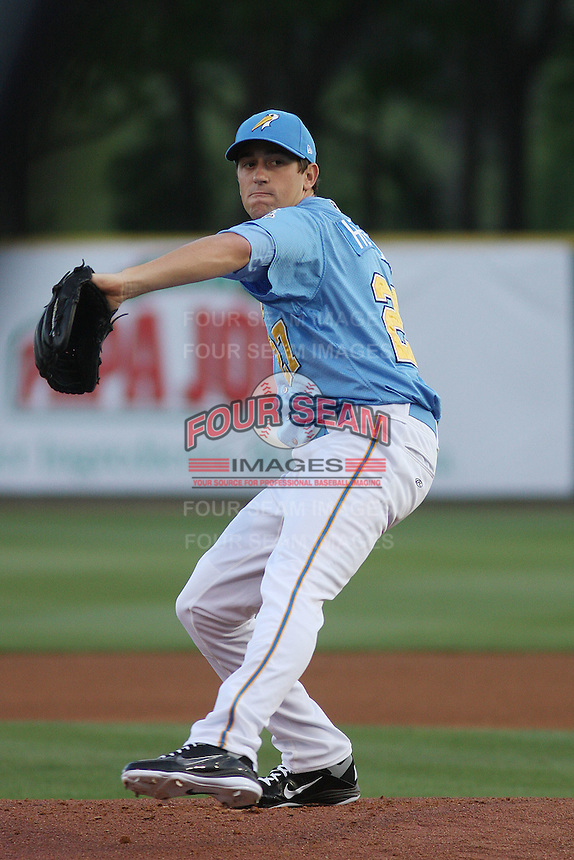 Myrtle Beach Pelicans pitcher Kyle Hendricks #27 pitching during a game against the Potomac Nationals at Tickerreturn.com Field at Pelicans Ballpark on April 10, 2012 in Myrtle Beach, South Carolina. Potomac defeated Myrtle Beach by the score of 6-4. (Robert Gurganus/Four Seam Images)
