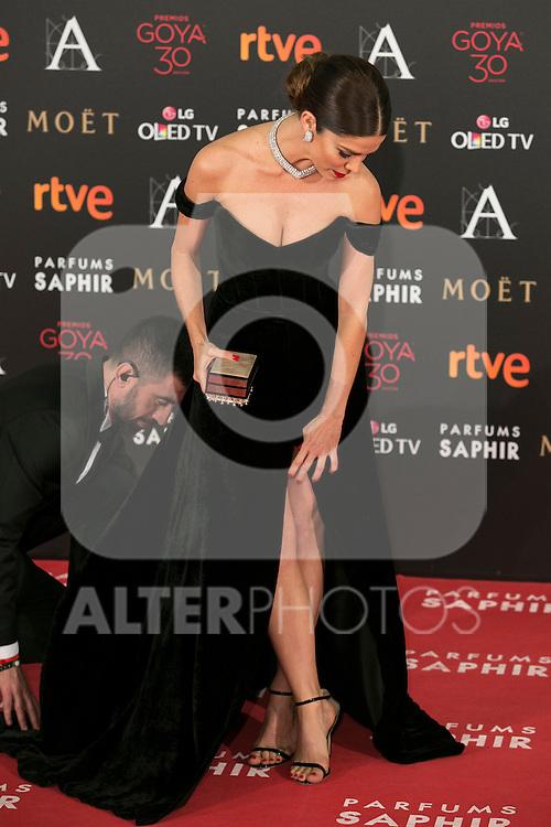 Juana Acosta attends 30th Goya Awards red carpet in Madrid, Spain. February 06, 2016. (ALTERPHOTOS/Victor Blanco)