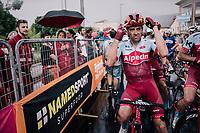 Alex Dowsett (GBR/Katusha-Alpecin) after finishing in the rain<br /> <br /> stage 17: Riva del Garda - Iseo (155 km)<br /> 101th Giro d'Italia 2018