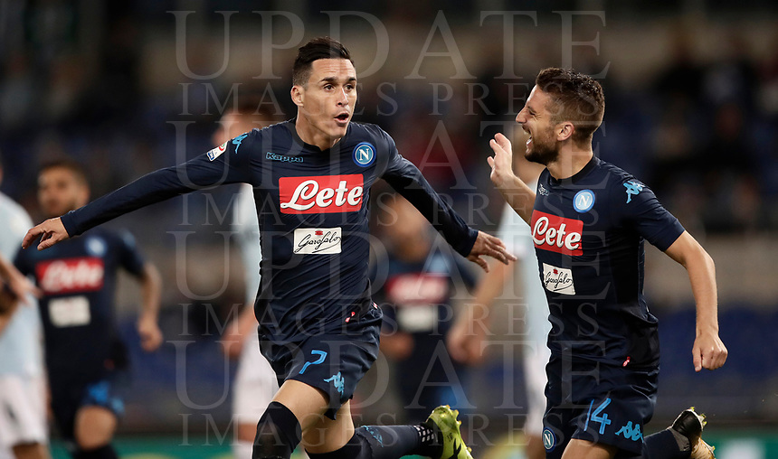 Calcio, Serie A: Roma, stadio Olimpico, 20 settembre 2017.<br /> Napoli's José Maria Callejon (l) celebrates after scoring  with his teammate Dries Mertens (r) during the Italian Serie A football match between Lazio and Napoli at Rome's Olympic stadium, September 20, 2017.<br /> UPDATE IMAGES PRESS/Isabella Bonotto