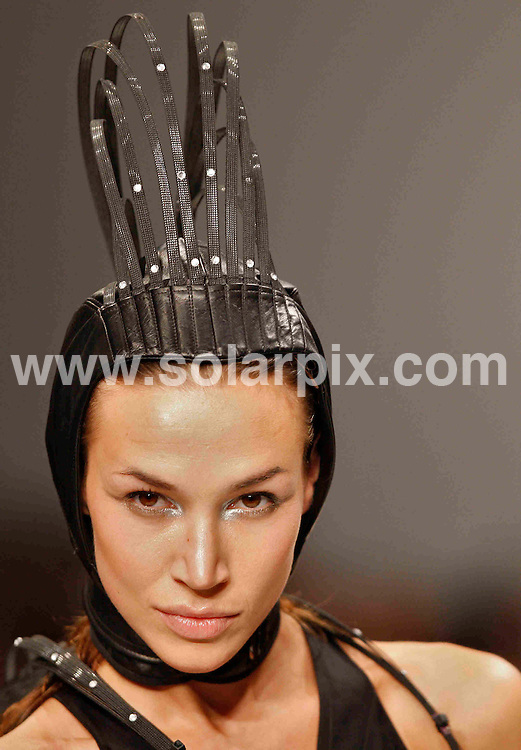 **ALL ROUND PICTURES FROM SOLARPIX.COM**.**NO UK NEWSPAPER PUBLICATION **UK MAGAZINE PUBLICATION ONLY** AND NO PUBLICATION IN FRANCE, SCANDINAVIA, AUSTRALIA AND GERMANY** .Models at The Aminaka Wilmont catwalk show at London Fashion Week show in London..JOB REF: 5790        SFE       DATE: 15.02.08.**MUST CREDIT SOLARPIX.COM OR DOUBLE FEE WILL BE CHARGED* *UNDER NO CIRCUMSTANCES IS THIS IMAGE TO BE REPRODUCED FOR ANY ONLINE EDITION WITHOUT PRIOR PERMISSION*
