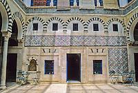 Tunisia.  Tunis Medina.  Dar Hamouda Pacha, late 18th. Century.  Now a restaurant and tea house.