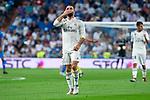 Real Madrid Dani Carvajal celebrating a goal during La Liga match between Real Madrid and Getafe CF at Santiago Bernabeu in Madrid, Spain. August 19, 2018. (ALTERPHOTOS/Borja B.Hojas)