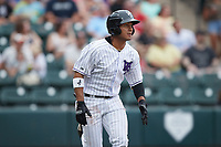Lenyn Sosa (25) of the Winston-Salem Dash hustles down the first base line against the Greensboro Grasshoppers at Truist Stadium on June 19, 2021 in Winston-Salem, North Carolina. (Brian Westerholt/Four Seam Images)