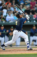 Center fielder Desmond Lindsay (2) of the Columbia Fireflies bats in a game against the West Virginia Power on Friday, May 19, 2017, at Spirit Communications Park in Columbia, South Carolina. West Virginia won, 3-1. (Tom Priddy/Four Seam Images)