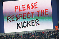 Please respect the kicker is shown on the large screen during the QBE Autumn International match between England and New Zealand at Twickenham on Saturday 16th November 2013 (Photo by Rob Munro)