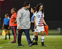 Lakewood Ranch, FL - Wednesday, October 10, 2018:   Mark Carr, Sophia Jones during a U-17 USWNT match against Colombia.  The U-17 USWNT defeated Colombia 4-1.