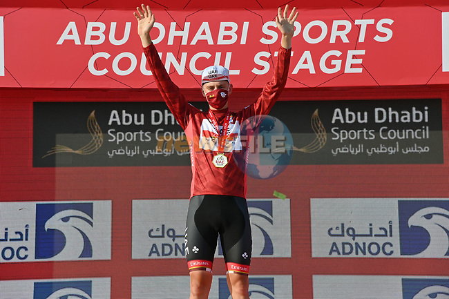 Tadej Pogacar (SLO) UAE Team Emirates leads the race at the end of Stage 2 and wears the Red Jersey of the 2021 UAE Tour running 13km around  Al Hudayriyat Island, Abu Dhabi, UAE. 22nd February 2021.  <br /> Picture: LaPresse/Gian Mattia D'Alberto | Cyclefile<br /> <br /> All photos usage must carry mandatory copyright credit (© Cyclefile | LaPresse/Gian Mattia D'Alberto)