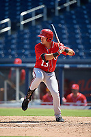 Washington Nationals Drew Mendoza (13) at bat during an Instructional League game against the Miami Marlins on September 26, 2019 at FITTEAM Ballpark of The Palm Beaches in Palm Beach, Florida.  (Mike Janes/Four Seam Images)