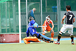 GER - Mannheim, Germany, May 25: During the U16 Boys match between The Netherlands (orange) and Germany (black) during the international witsun tournament on May 25, 2015 at Mannheimer HC in Mannheim, Germany. Final score 3-4 (1-2). (Photo by Dirk Markgraf / www.265-images.com) *** Local caption *** Sander van Berkel #13 of The Netherlands