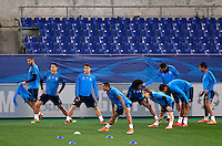 Real Madrid's players attend a practice session ahead of the Champions League round of 16 first leg football match against Roma, at Rome's Olympic stadium, 16 February 2016.<br /> UPDATE IMAGES PRESS/Riccardo De Luca
