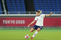 YOKOHAMA, JAPAN - JULY 30: Abby Dahlkemper #17 of the United States shoots the ball during a game between Netherlands and USWNT at International Stadium Yokohama on July 30, 2021 in Yokohama, Japan.