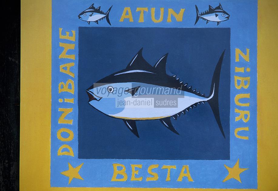 Europe/France/Aquitaine/64/Pyrénées-Atlantiques/Saint-Jean-de-Luz: Détail de l'affiche de la fête du thon
