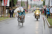 Vincenzo Nibali (ITA/Astana) hides behind the back of Jakob Fuglsang (DEN/Astana) to maximise the time putten into the other overall contenderedn<br /> <br /> 2014 Tour de France<br /> stage 5: Ypres/Ieper (BEL) - Arenberg Porte du Hainaut (155km)