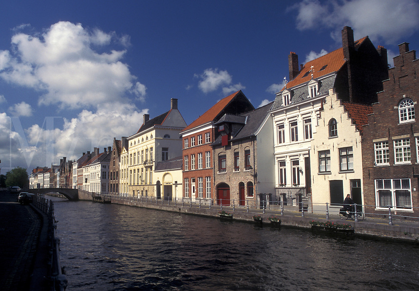 Bruges, Brugge, Belgium, West-Vlaanderen, Europe, Gabled houses along a canal in Brugge.