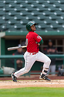 Fort Wayne TinCaps Xavier Edwards (9) hits a triple to right field during a Midwest League game against the Fort Wayne TinCaps at Parkview Field on April 30, 2019 in Fort Wayne, Indiana. Kane County defeated Fort Wayne 7-4. (Zachary Lucy/Four Seam Images)
