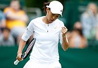 1st July 2021; Wimbledon, SW London. England; Wimbledon Tennis Championships, day 4; Zhang Shuai of China reacts during the womens singles first round match