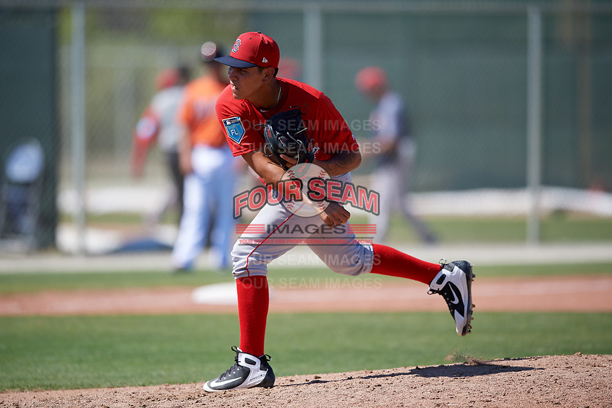 Boston Red Sox pitcher Jose Gonzalez (59) during a Minor League Spring Training game against the Baltimore Orioles on March 17, 2018 at the jetBlue Park Complex in Fort Myers, Florida.  (Mike Janes/Four Seam Images)