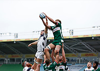 4th October 2020; Twickenham Stoop, London, England; Gallagher Premiership Rugby, London Irish versus Bristol Bears; Jack Cooke of London Irish catches the ball above Ed Holmes of Bristol Bears during the line-out