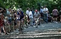 Dries Devenyns (BEL/Deceuninck - Quick Step) up the infamous Muur van Geraardbergen / Kapelmuur<br /> <br /> 17thBenelux Tour 2021 (2.UWT)<br /> (Final) Stage 7: from Namur to Geraardsbergen (178km)<br /> <br /> ©kramon