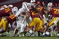 LOS ANGELES, CA - SEPTEMBER 11: Casey Filkins #2 of the Stanford Cardinal runs with the ball during a game between University of Southern California and Stanford Football at Los Angeles Memorial Coliseum on September 11, 2021 in Los Angeles, California.