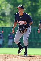 Second baseman Jose Peraza (57) of the Atlanta Braves farm system in a Minor League Spring Training workout on Tuesday, March 17, 2015, at the ESPN Wide World of Sports Complex in Lake Buena Vista, Florida. (Tom Priddy/Four Seam Images)