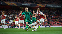 Ardin Dallku of Vorskla Poltava blocks Emile Smith-Rowe of Arsenal during the UEFA Europa League match group between Arsenal and Vorskla Poltava at the Emirates Stadium, London, England on 20 September 2018. Photo by Andrew Aleks / PRiME Media Images.