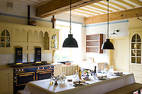 The contemporary kitchen has been designed to echo the neo-gothic style of the chateau