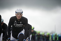 Marcel Kittel (DEU/Giant-Shimano) squinching under the Irish rainclouds<br />  <br /> Giro d'Italia 2014<br /> stage 2: Belfast-Belfast <br /> 219km