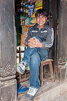 Bhaktapur, Nepal.  Newari Shopkeeper.
