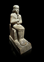 "Ancient Egyptian statue of Ptah - limestone - New Kingdom. 18th Dynasty, reign of Amenhotep III (1390 - 1353 BC), Karnac. Egyptian Museum, Turin.  Grey background<br /> <br /> Large statue of Egyptian gods are rare and most of them are part of building designs. This imposing statue of Ptah was probably made for the ""Temple of Millions of Years"", on the west bank of Thebes, promoted by Amenhotep III . When the temple was eventually abandoned its statues were reused in other temples in the region. Drovetti collection C. 87"
