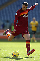 Football, Serie A: AS Roma -  Udinese, Olympic stadium, Rome, February 14, 2021. <br /> Roma's Edin Dzeko  in action during the Italian Serie A football match between Roma and Udinese at Rome's Olympic stadium, on February 14, 2021.  <br /> UPDATE IMAGES PRESS/Isabella Bonotto