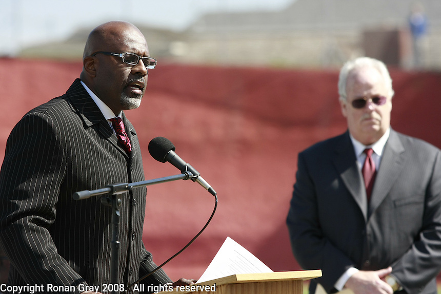 The Rev. George Williams sings during a Memorial service held for Coach Bennie Eden at the Point Loma High School Football stadium that was recently renamed in his honor, Saturday February 23 2008.