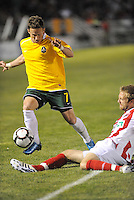 Luke Kreamalmeyer.Jay Needham...AC St Louis were defeated 1-2 by Austin Aztek in their inaugural home game in front of 5,695 fans at Anheuser-Busch Soccer Park, Fenton, Missouri.