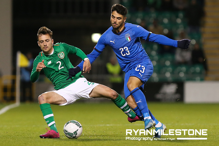 EVENT:<br /> UEFA European U21 Championship Qualifier Group 1 Republic of Ireland v Italy<br /> Thursday 10th October 2019,<br /> Tallaght Stadium, Dublin<br /> <br /> CAPTION:<br /> Lee O'Connor of Republic of Ireland in action against Riccardo Sottil of Italy<br /> <br /> Photo By: Michael P Ryan