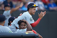 Kevin Vargas (12) of the Johnson City Cardinals cheers for his team from the dugout during the game against the Burlington Royals at Burlington Athletic Stadium on September 4, 2019 in Burlington, North Carolina. The Cardinals defeated the Royals 8-6 to win the 2019 Appalachian League Championship. (Brian Westerholt/Four Seam Images)