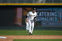 Wake Forest Demon Deacons second baseman Chase Mascolo (28) on defense against the Furman Paladins at BB&T BallPark on March 2, 2019 in Charlotte, North Carolina. The Demon Deacons defeated the Paladins 13-7. (Brian Westerholt/Four Seam Images)