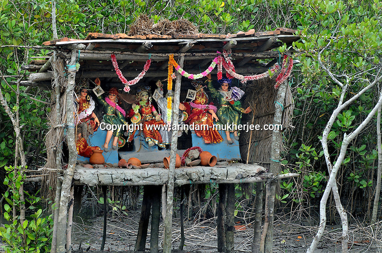 A temporary temple of Bonobibi inside the forest. Bonobibi is the goddess of Tigers. Nobody in Sunderban will dare to enter the jungle without worshiping her. This ritual is strictly followed by each and every men entering the jungle. Sunderban, West Bengal, April 2011. Arindam Mukherjee