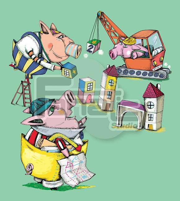 Illustrative image of pigs constructing building representing play school