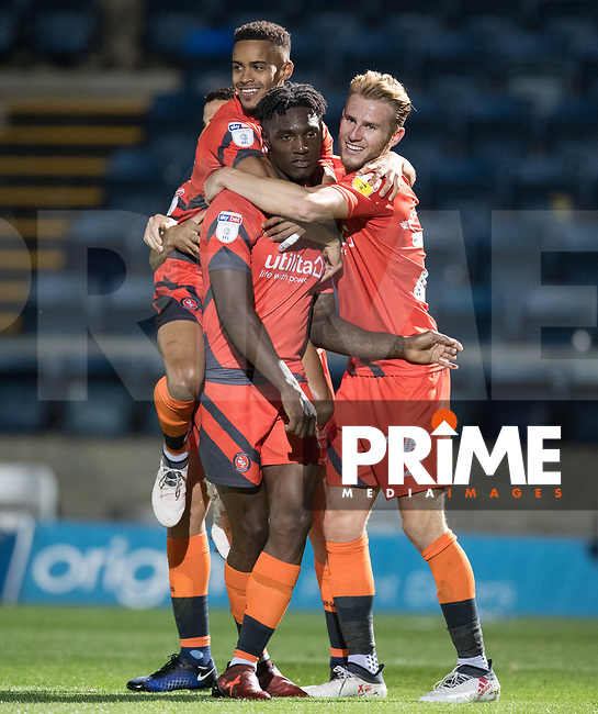 Paris Cowan-Hall & Jason McCarthy celebrate with goalscorer Anthony Stewart of Wycombe Wanderers during the Carabao Cup 2nd round match between Wycombe Wanderers and Forest Green Rovers at Adams Park, High Wycombe, England on 28 August 2018. Photo by Andy Rowland.