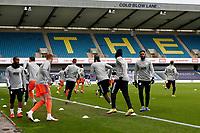 21st November 2020; The Den, Bermondsey, London, England; English Championship Football, Millwall Football Club versus Cardiff City; Cardiff City players warming up before kick off