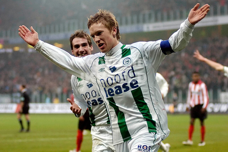 fc groningen -psv eredivisie seizoen 2007-2008 26-12- 2007.lindgren juicht na de 1-1.  *** Local Caption ***