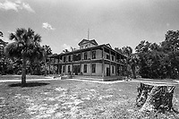 Exterior view, Planetary Court, built in 1904, Koreshan State Park, Koreshan Unity Settlement Historic site, Estero, FL  July 2018. Shot with a Canon EOS 650 35mm SLR camera on Kodak T-Max 400 film. (Photo by Brian Cleary/ www.bcpix.com )