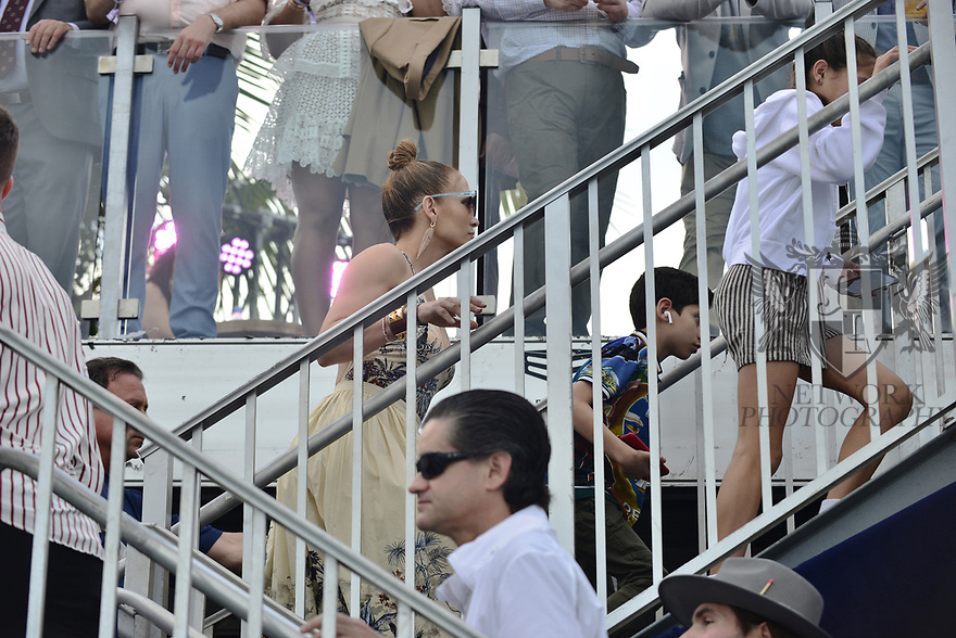 HALLANDALE BEACH, FL - JANUARY 25: Jennifer Lopez with her children Emme Maribel Muñiz and Maximilian David Muñiz at the 2020 Pegasus World Cup Championship Invitational Series at Gulfstream Park - David Grutman's LIV Stretch Village on January 25, 2020 in Hallandale Beach, Florida.  ( Photo by Johnny Louis / jlnphotography.com )