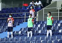 BARRANQUILLA - COLOMBIA, 05-03-2021: Jugadores de Atletico Junior, durante partido entre Atletico Junior y Atletico Bucaramanga, de la fecha 11 por la Liga BetPlay DIMAYOR I 2021 jugado en el estadio Metropolitano Roberto Melendez de la ciudad de Barranquilla. / Players of Atletico Junior during a match between Atletico Junior and Atletico Bucaramanga of the 11th date for BetPlay DIMAYOR I 2021 League played at the Metropolitano Roberto Melendez Stadium in Barranquilla city. / Photo: VizzorImage / Jesus Rico / Cont.