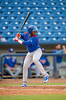 South Bend Cubs designated hitter Nelson Velazquez (36) at bat during the first game of a doubleheader against the Lake County Captains on May 16, 2018 at Classic Park in Eastlake, Ohio.  South Bend defeated Lake County 6-4 in twelve innings.  (Mike Janes/Four Seam Images)