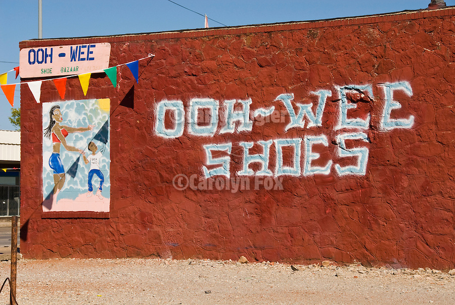 Ooh-Wee Shoes sign on side of shop along 23rd Avenue in Oklahoma City.