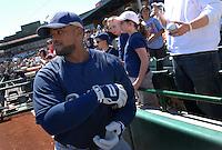Mar 28, 2007; Scottsdale, AZ, USA; Milwaukee Brewers first baseman (28) Prince Fielder against the San Francisco Giants at Scottsdale Stadium in Scottsdale, AZ. Mandatory Credit: Mark J. Rebilas